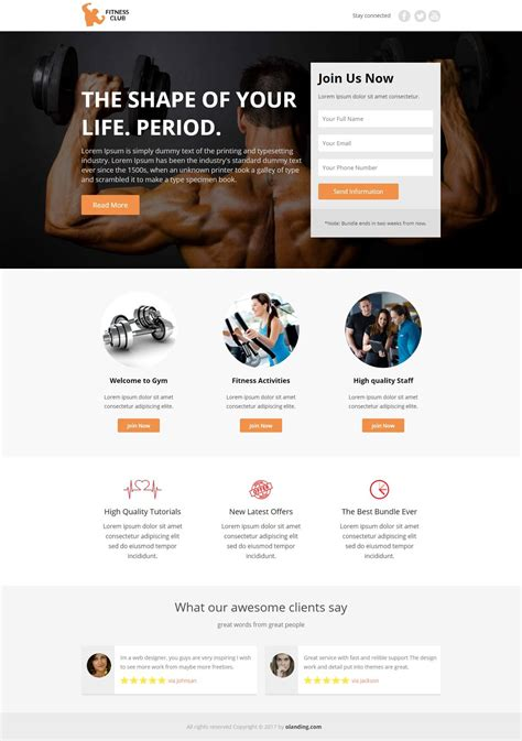 Fitness Club Internet Marketing Landing Page Design Template To Capture Online Leads Olanding Fitness Landing Page Templates