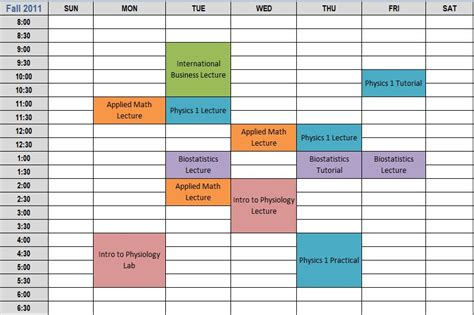 class schedule template search results for college semester schedule template