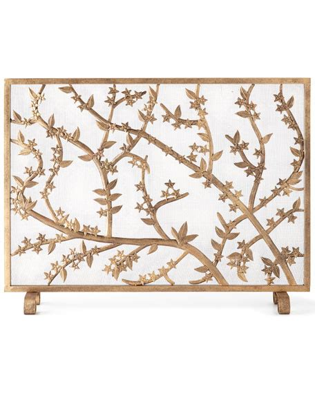 Golden Branch Fireplace Screen by Golden Flowers And Branches Fireplace Screen