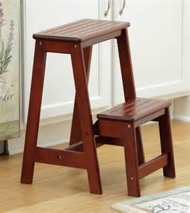 new poratable folding cherry wood step stool ladder seat