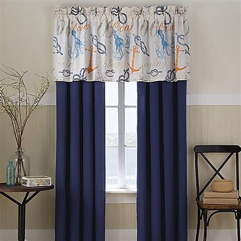nautical bathroom window curtains nautical window curtain panel pair and valance bed bath beyond