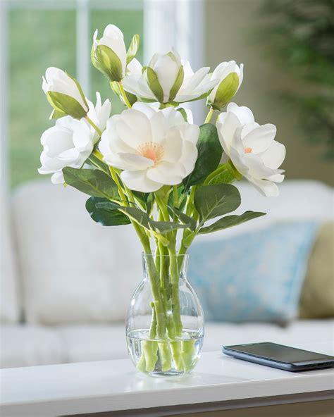 Modern Bowl by Realistic Magnolia Silk Flower Arrangement From Petals