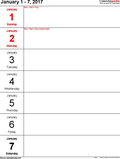 printable weekly calendar 2017 weekly calendar 2017 for excel 12 free printable templates