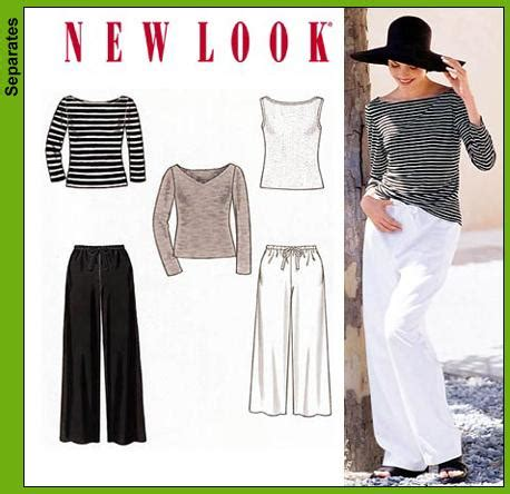boat neck shirt sewing pattern new look 6838 misses pants and knit tops