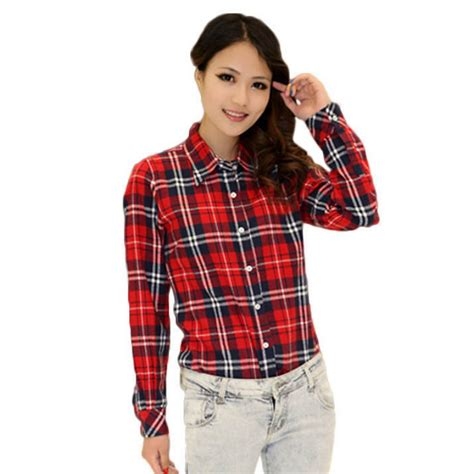 Plaid Sleeve Blouse womens plaid check lapel shirt sleeve flannel button