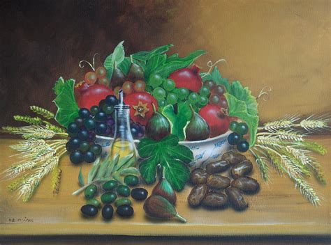 5 fruits of israel the seven fruits of israel painting by amatzia baruchi