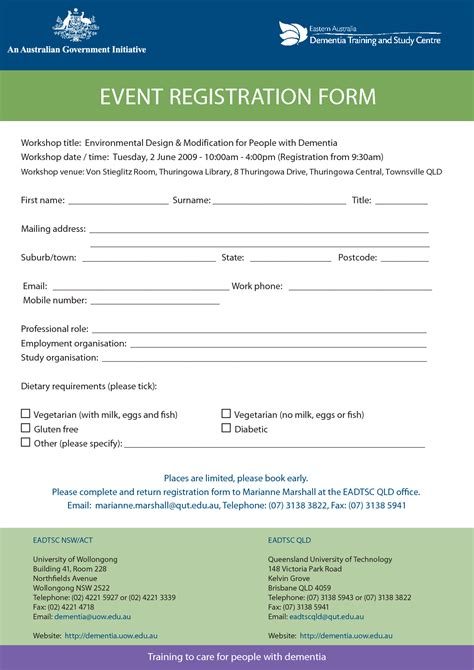 women s conference registration form template invitation