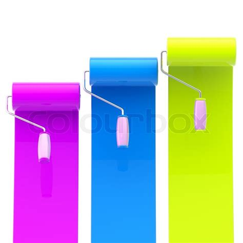 colorful glossy magenta blue green bright paint rollers with color strokes stock photo