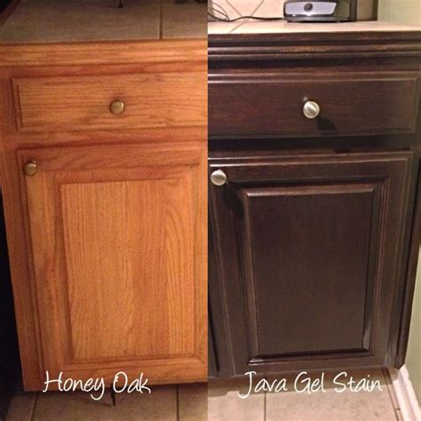 Stained Kitchen Cabinets Before And After Before And After Stain Oak Cabinets From Golden Oak To A Darker Stain Colour With Gel Stain Or Java