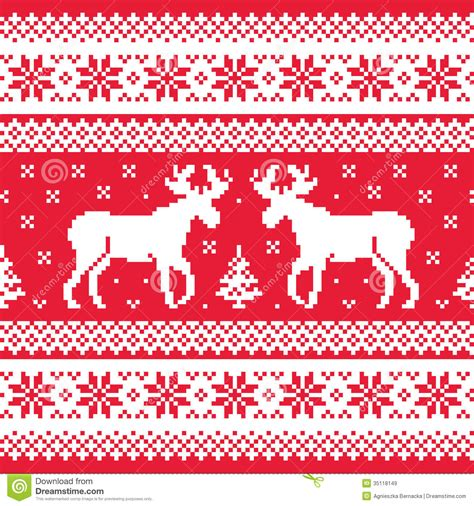 pattern christmas sweater christmas and winter knitted pattern with reindeer royalty