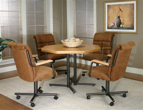 kitchen table chairs with casters brown counter top plus black wooden legs also black