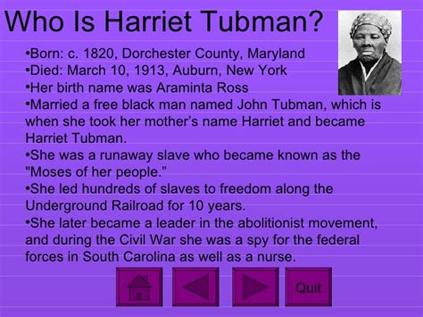 Harriet Tubman Biography Ppt | interactive powerpoint on harriet tubman