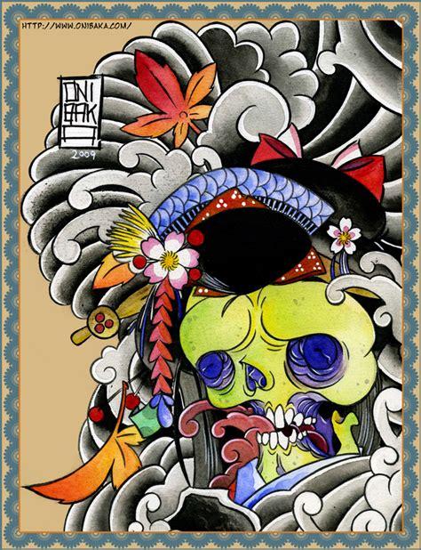 geisha traditional tattoo flash geisha skull tattoo by onibaka on deviantart
