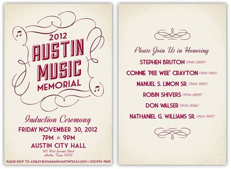 design invitation program invitation program for the 2012 austin music memorial