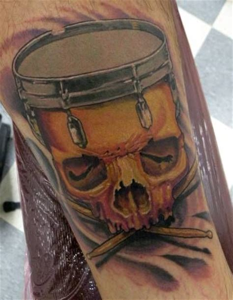 drummer tattoos skull drum search ideas