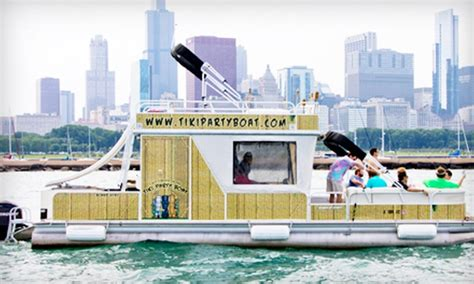 chicago boat rental groupon tiki boat rental for 12 island party hut groupon
