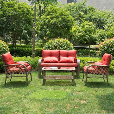 pcs  weather outdoor chairs  cushions pe rattan