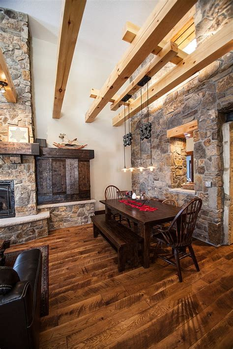 Distressed Wood Chandelier 15 Gorgeous Dining Rooms With Stone Walls