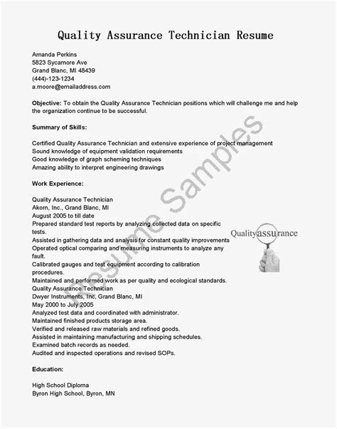 Sle Resume For Qc Technician Sle Resume For Quality Assurance 28 Images Construction Quality Manager Resume Sales