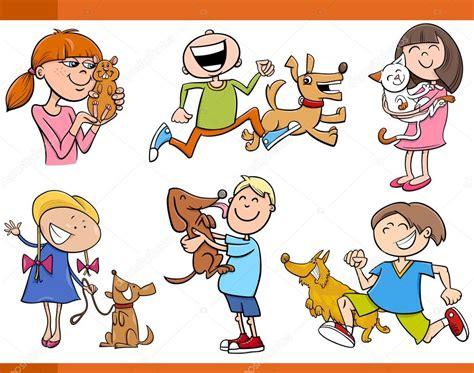 imagenes de niños jugando con animales ni 241 os con animales de dibujos animados conjunto archivo