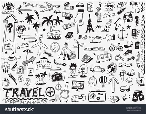 travel doodle free vector travel doodles sketch icons stock vector 533798752