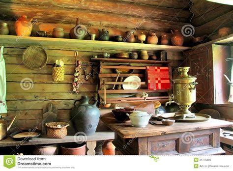 Russian izba stock photo. Image of inside, clay, aged