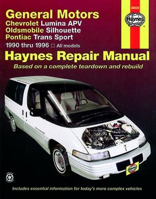 small engine service manuals 1997 pontiac trans sport security system 1990 1996 chevrolet lumina apv silhouette trans sport haynes manual