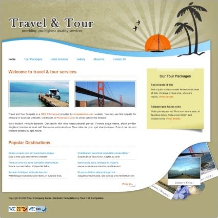 travel free website templates in css html js format for