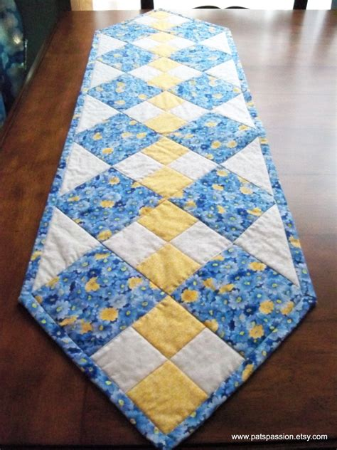 Patchwork Table Runner - blue yellow table runner quilted patchwork by