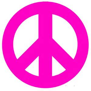 pink peace sign and polka dots wall sticker by instant murals design