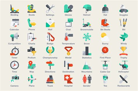 ski amp snowboarding infographic icons on creative market