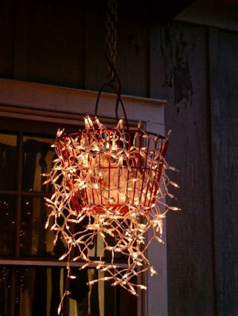 String Chandelier Diy Diy Garden Chandelier String Of Lights In A Basket This Also Has Some Glass Ornaments In It