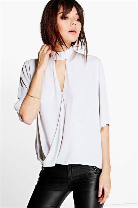 Blouse Top Xl Don T Look Black Atasan Wanita Blouse 0153 Qjq high cut out choker neck wrap front blouse at boohoo