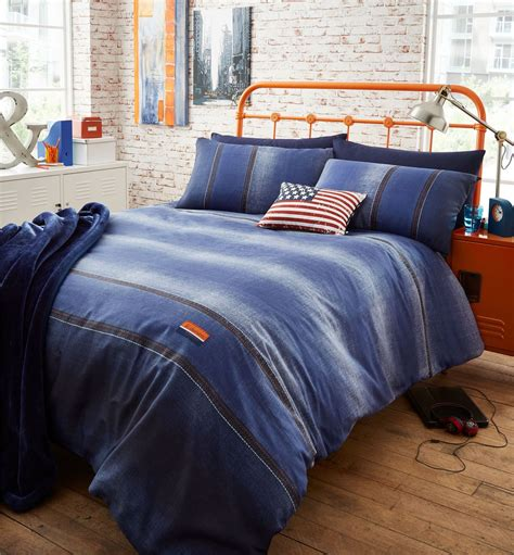 single bed coverlet denim duvet quilt cover set reversible single double king