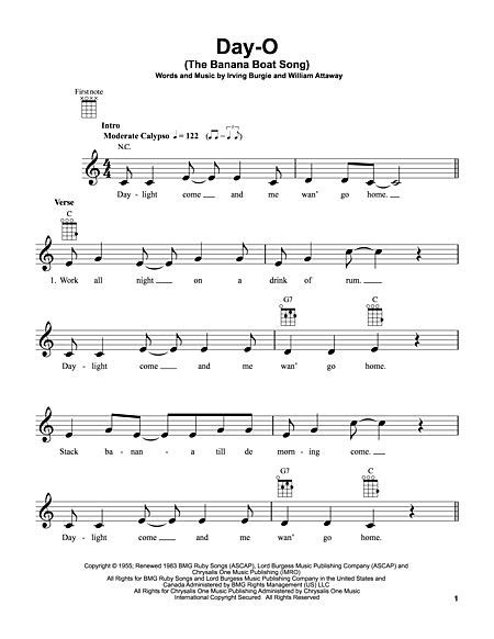 rock the boat uke harry belafonte sheet music to download and print world