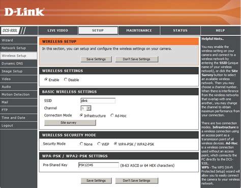 dlink 930l d link dcs 930l network configuration network and