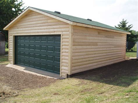 Log Sided Sheds by 4 Log Sided Garage 20x24x8 10187 Kansas Outdoor Structures