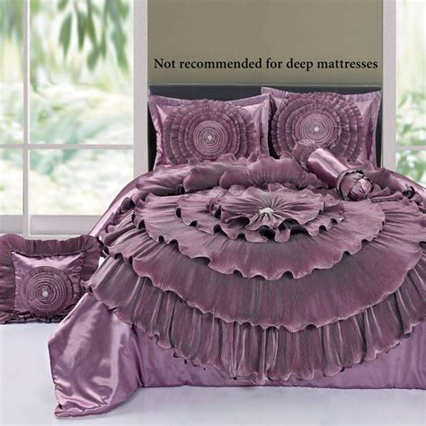 Mauve Bedding Set Bedding Ruffled Mauve Rosette Comforter Bed Set Includes A Comforter 2