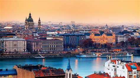 full hd wallpaper budapest aerial view river megapolis