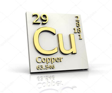 cu tavola periodica copper form periodic table of elements stock photo
