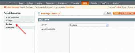 layout update xml how to change a header for the magento cms or module page