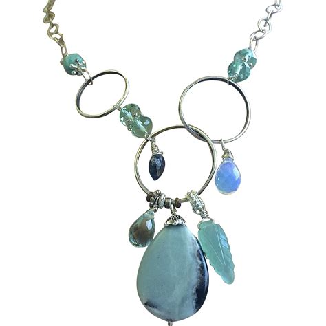 amazonite necklace silver necklace asymmetrical
