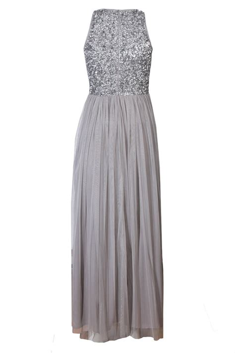 lace beads picasso grey embellished maxi dress party