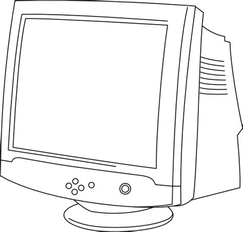 water monitor coloring page crt monitor in line art clipart i2clipart royalty free