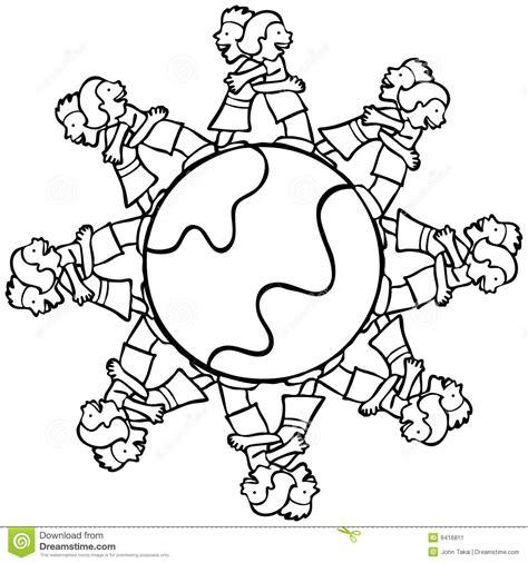 small earth coloring page globo con i bambini circostanti che abbracciano b e w