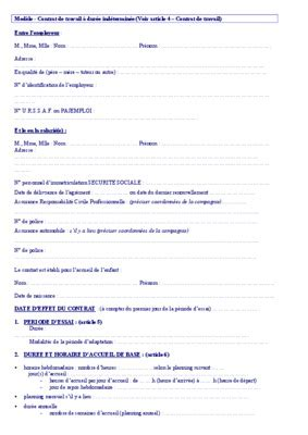 modele contrat de travail cdi pdf document