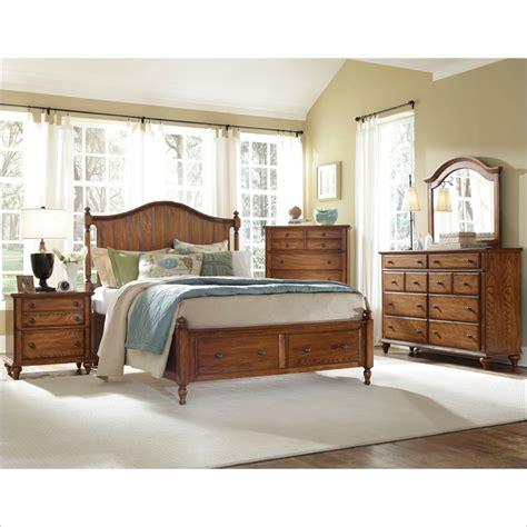hayden place panel storage bed  piece bedroom set  oak