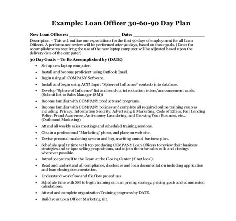 30 day business plan template 16 30 60 90 day plan template free sle