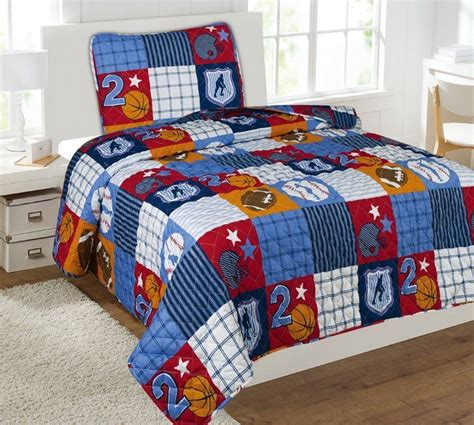 sports bedding 2pc patchwork sports twin sized quilt quilted bedspread