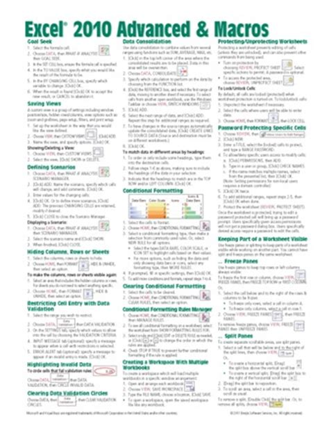 excel formula cheat sheet pdf excel 2010 functions formulas quick reference guide card